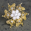 Gold Brooch with Pearls & Diamanté