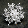 Silver Brooch with Pearls & Diamanté