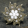 Vintage Gold Brooch with Pearls & Diamanté