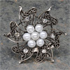 Vintage Silver Brooch with Pearls & Diamanté