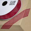 Woven Edge Organza Ribbon 10mm x 25M Burgundy