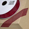 Woven Edge Organza Ribbon 10mm x 25M Dark Burgundy