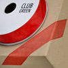 Woven Edge Organza Ribbon 10mm x 25M Red