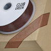 Woven Edge Organza Ribbon 15mm x 25M Chocolate Brown