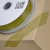 Woven Edge Organza Ribbon 15mm x 25M Moss Green