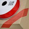 Woven Edge Organza Ribbon 15mm x 25M Red