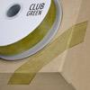 Woven Edge Organza Ribbon 38mm x 25M Moss Green