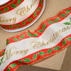 Wired Edge Ribbon Merry Christmas with Holly