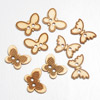 Wooden Butterfly Buttons 3 asssorted designs 9 per pack