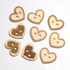 Wooden Heart Buttons 3 asssorted designs 9 per pack