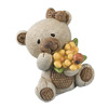 Hessian Bear with Bow+Brown Flower