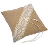 Linen Square Ring Cushion with Lace