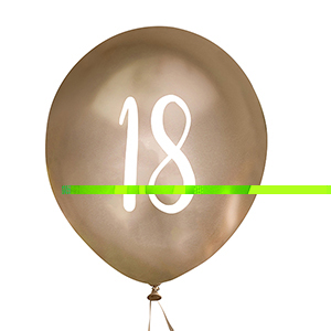 Gold Number 18 Balloons