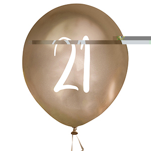 Gold Number 21 Balloons