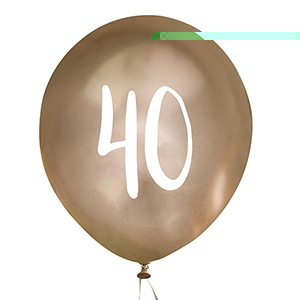 Gold Number 40 Balloons