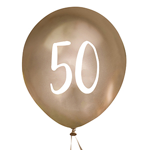 Gold Number 50 Balloons