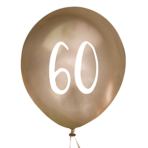 Gold Number 60 Balloons