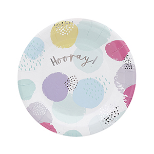 Pastel Patterned Hooray Paper Plates