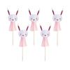 6x Pink Bunny Tassel Cake Picks
