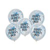 HAPPY FATHER'S DAY BLUE CONFETTI BALLOONS 5PK 12