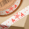 Deer/Trees on Ribbon 19mm x 5M Red/Natural