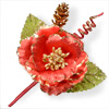 Christmas Spray with Red flower and Cones