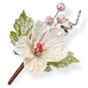 Cream Hessian Christmas Flower with Frosted Red Berries
