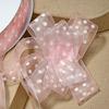 Organza Pull Bow Ribbon White Spots