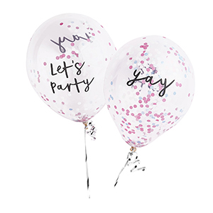 Let's Party & Yay Pastel Confetti Balloons