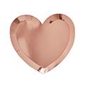 ROSE GOLD METALLIC HEART PLATE 10PK
