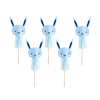 6x Blue Bunny Tassel Cake Picks