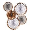 Rose Gold Fan Decorations 5 Pack