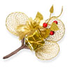 Christmas Spray with gld rackets and a gold parcel
