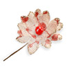 Hessian Peony with Red Spots, Berries & Glitter H:100mm