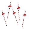 Red & White Striped Paper Straws with Santa Hat Drink Markers